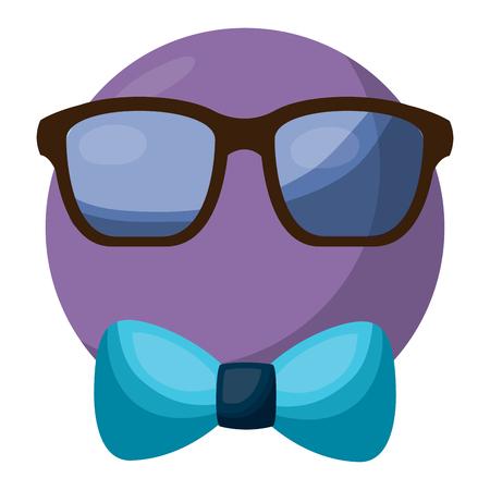 emoticon glasses and bow tie retro style vector illustration Illustration