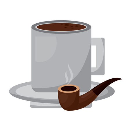 tobacco pipe and coffee cup in plate vector illustration