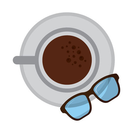 coffee cup in dish and glasses top view vector illustration