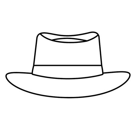 classic hat men cloth fashion vector illustration outline image Stock Illustratie