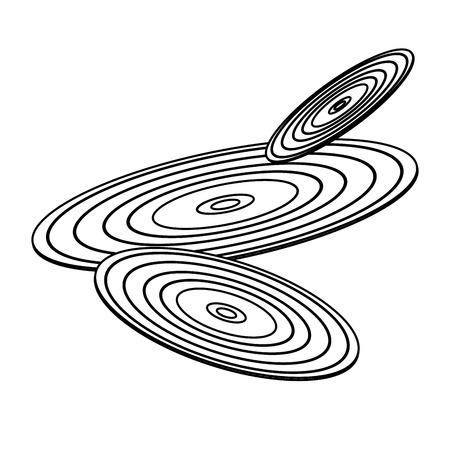 set of retro classic music vinyl discs vector illustration outline image Illustration
