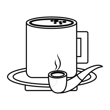 プレートベクターイラストアウトライン画像のタバコパイプとコーヒーカップ  イラスト・ベクター素材