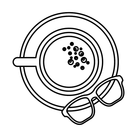 coffee cup in dish and glasses top view vector illustration outline image