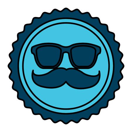 vintage label mustache glasses hipster vector illustration