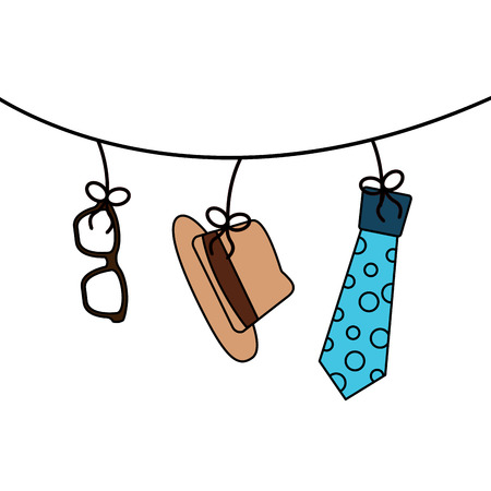 classic hat necktie and glasses hanging decoration vector illustration