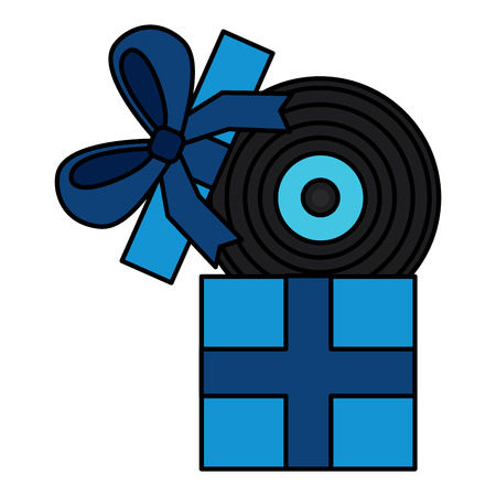 gift box with vinyl disk surprise vector illustration