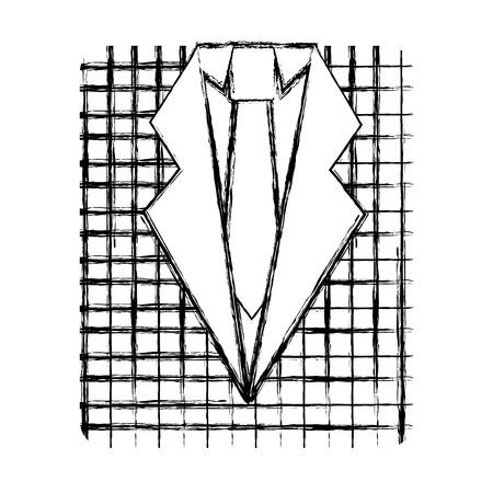 レトロなチェッカーシャツとネクタイファッションベクターイラストスケッチ画像
