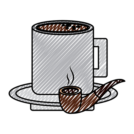 tobacco pipe and coffee cup in plate vector illustration drawing color image