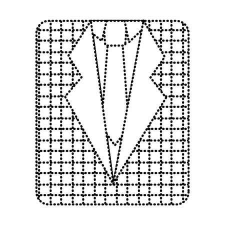 retro checkered shirt and necktie fashion vector illustration dotted line image