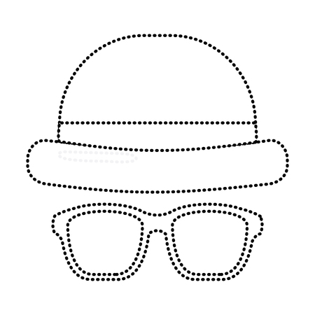classic hat and glasses fashion men vector illustration dotted line image