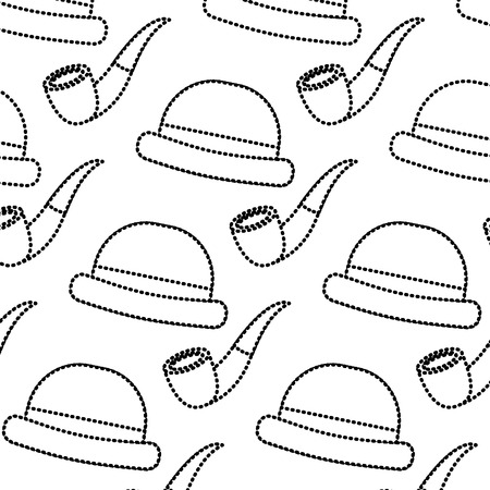 Classic hat and tobacco pipe design Ilustracja