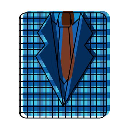 retro checkered shirt and necktie fashion vector illustration Stock Vector - 96841237