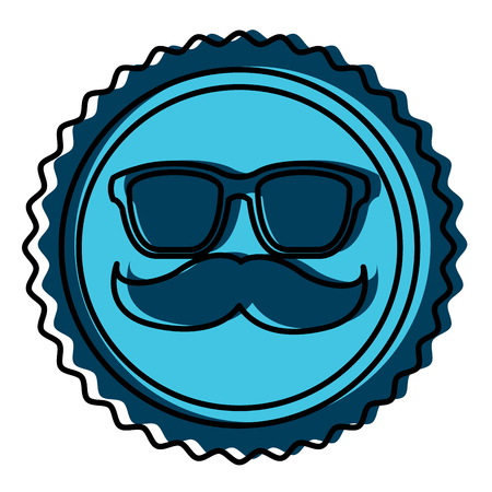 Vintage label moustache and glasses hipster illustration