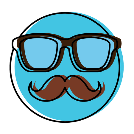 Hipster emoticon with moustache and glasses vintage illustration