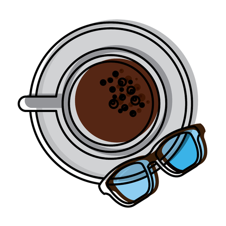 Coffee cup in dish and glasses top view  illustration