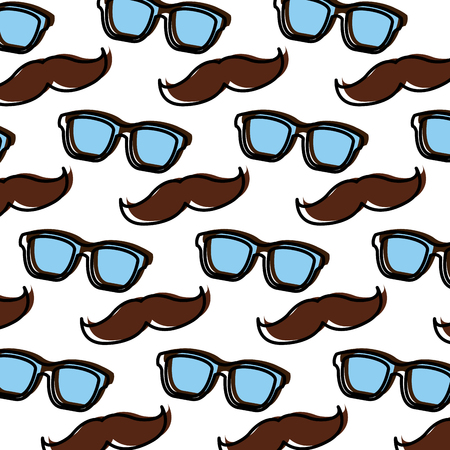 Vintage hipster glasses and moustache background design illustration Ilustracja