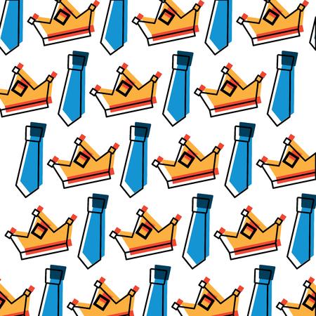 Crown and necktie accessory decoration wallpaper illustration Vettoriali