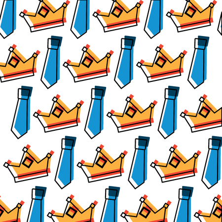 Crown and necktie accessory decoration wallpaper illustration Vectores