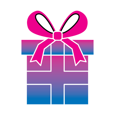 Wrapped gift box ribbon vector illustration degrade color image