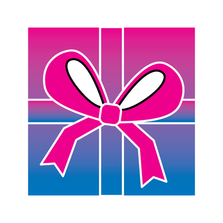 Square gift box with bow and ribbon top view closed vector illustration degrade color image