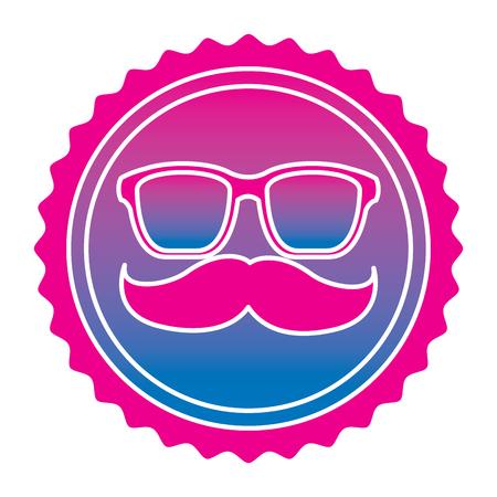 Vintage label mustache glasses hipster vector illustration degrade color image