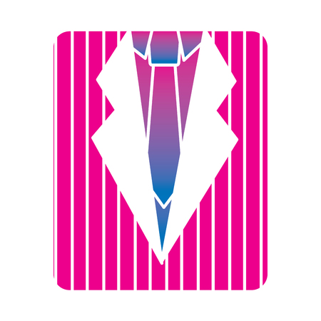 Retro striped shirt and necktie fashion vector illustration degrade color image