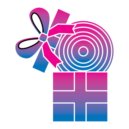 Gift box with vinyl disc surprise vector illustration degrade color image