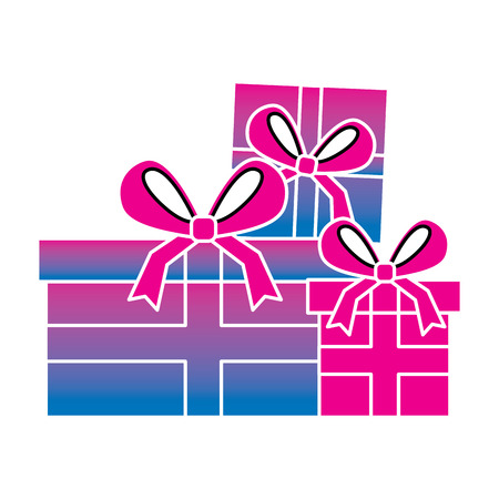 Set of gift boxes with bow ribbon decoration vector illustration degrade color image
