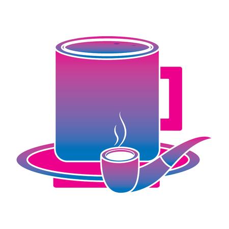 プレートベクターイラストのタバコパイプとコーヒーカップは、色の画像を劣化させます