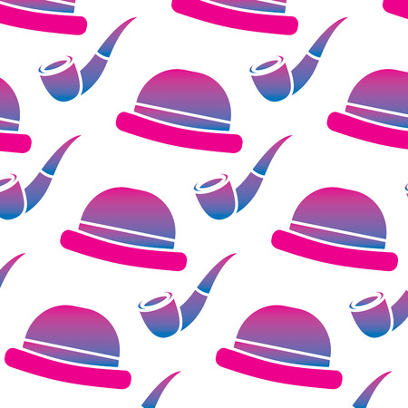 Classic hat and tobacco pipe hipster style wallpaper vector illustration degrade color image Stock fotó - 96827137