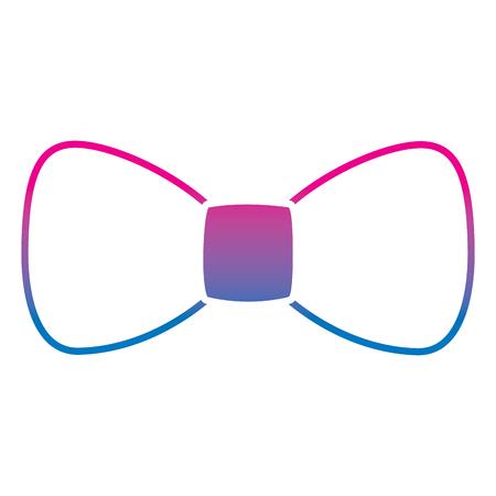 Hipster fashion bow tie elegance for men vector illustration gradient color line image Illustration