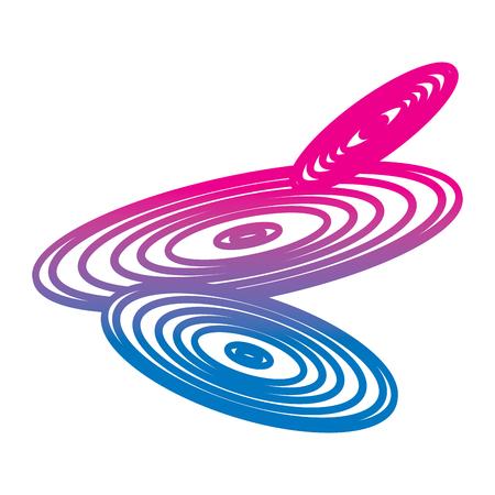 set of retro classic music vinyl discs vector illustration gradient color line image