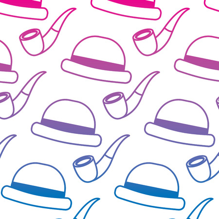 classic hat and tobacco pipe hipster style wallpaper vector illustration gradient color line image