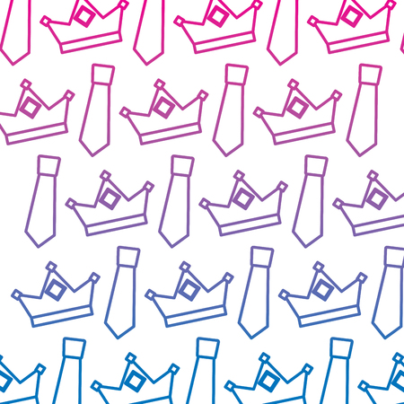crown and necktie accessory decoration wallpaper vector illustration gradient color line image Illustration