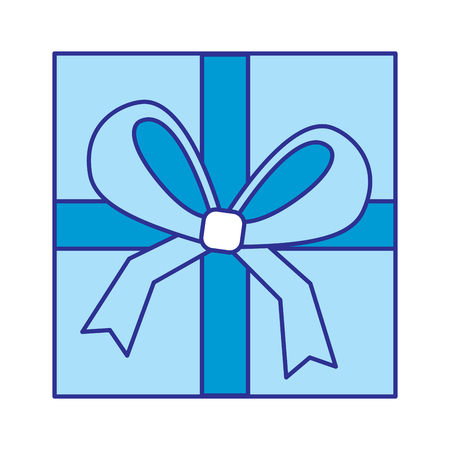 Square gift box with bow and ribbon on top view closed vector illustration blue image
