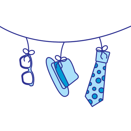 classic hat necktie and glasses hanging decoration vector illustration blue image Illustration