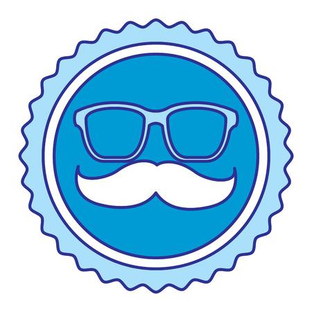 vintage label mustache glasses hipster vector illustration blue image Illustration