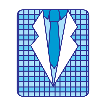 retro checkered shirt and necktie fashion vector illustration blue image Stock fotó - 97043596