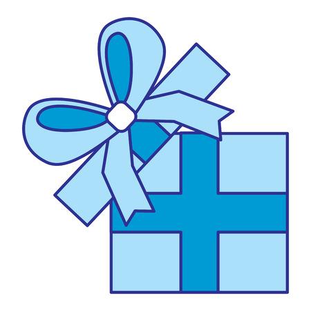 opened gift box with bow celebration vector illustration blue image