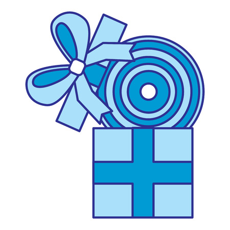 gift box with vinyl disc surprise vector illustration blue image