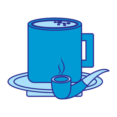 tobacco pipe and coffee cup in plate vector illustration blue image