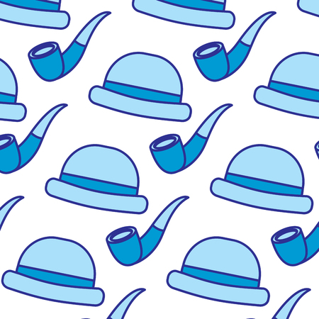 classic hat and tobacco pipe hipster style wallpaper vector illustration blue image