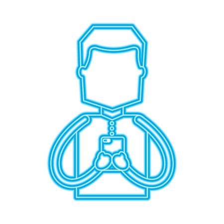 portrait man using smartphone chatting vector illustration blue color line image