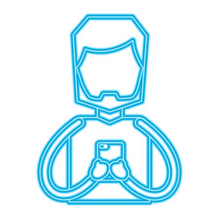 portrait beard man using smartphone vector illustration blue color line image Illustration