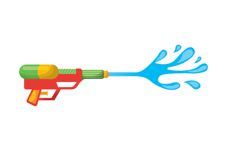 water gun shoot splash toy plastic vector illustration  イラスト・ベクター素材
