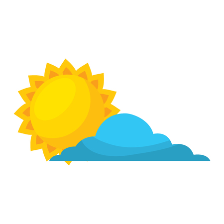 summer sun with cloud vector illustration 일러스트