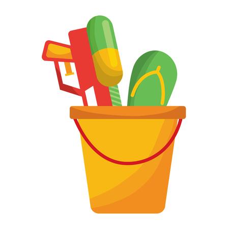 plastic bucket with water pistol and flip flop vector illustration Stock Illustratie