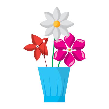 flowers jasmine frangipani in vase decoration ornament vector illustration