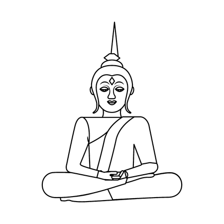 thai buddha sitting lotus flower religion statue vector illustration outline image