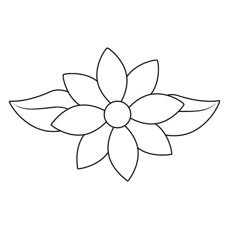 jasmine flower leaves decoration ornament vector illustration outline image Vettoriali